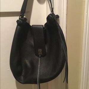 Rebecca Minkoff black pebbled green hobo bag